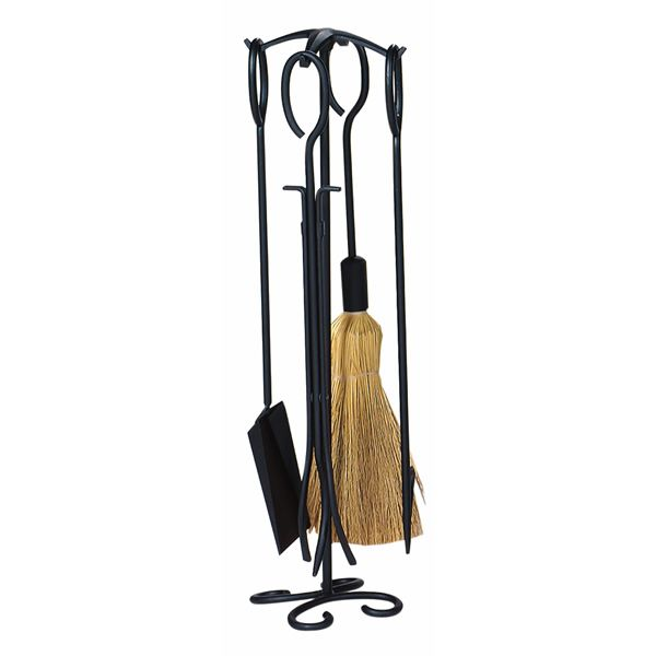 Wrought Iron Fireplace Tool Set With Ring Handles - Black image number 0