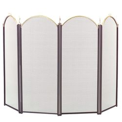 4-Panel Brass Accent Arched Fireplace Screen