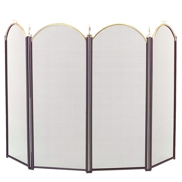 """4-Panel Brass Accent Arched Fireplace Screen - 52"""" x 32 1/2"""" image number 0"""
