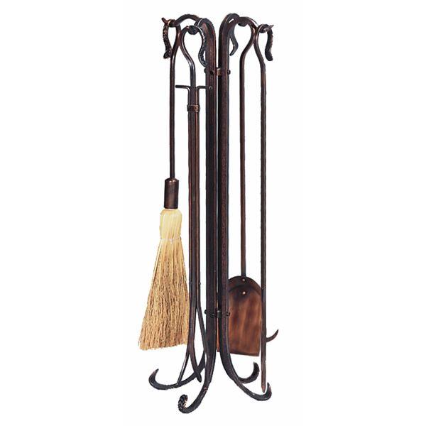 Hammered Crook Fireplace Tool Set - Antique Copper image number 0