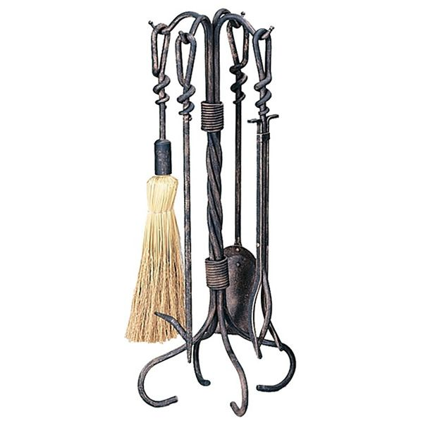 Antique Rust Wrought Iron Fireplace Tool Set image number 0
