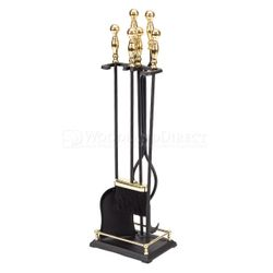 Black & Brass Plated 4 Piece - Tool Fireplace Tool Set