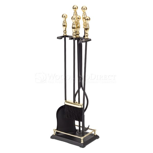 4 Piece Black & Brass Plated Fireplace Tool Set - Round image number 0
