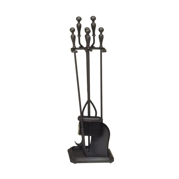 4-Piece Black Steel Fireplace Tool Set image number 0
