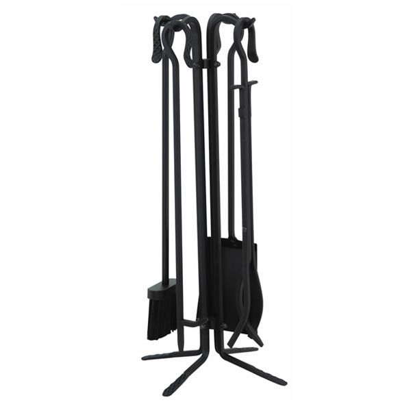 Wrought Iron Fireplace Tool Set With Crook Handles - Black image number 0