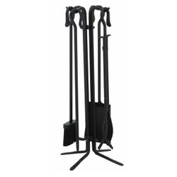 4 Piece Black Wrought Iron Fireplace Tool Set With Crook Han