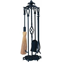 4 Piece Heavy Weight Black Wrought Iron Fireplace Tool Set