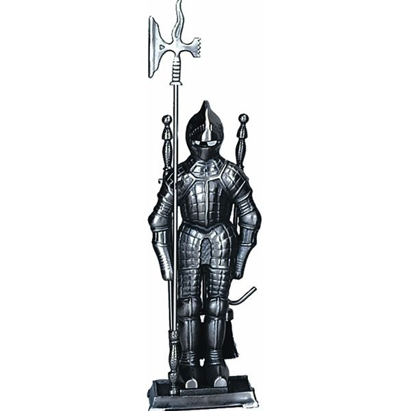 Mini Triple Plated Soldier Fireplace Tool Set - Pewter image number 0
