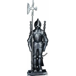 4 Piece Mini Triple Plated Pewter Soldier Fireplace Tool Set