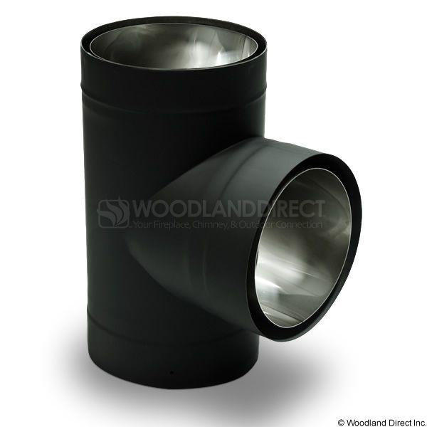 "6"" Diameter Champion Premium Double Wall Black Stove Pipe Tee & Cap image number 0"