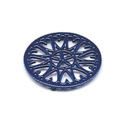 "7"" Blue Sunburst Cast Iron Wood Stove Trivet"