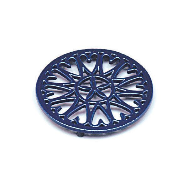 "7"" Cast Iron Wood Stove Trivet - Blue Sunburst image number 0"