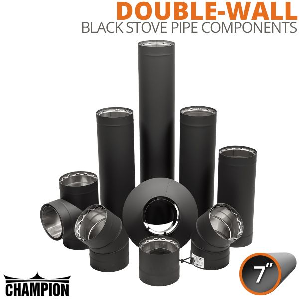 "7"" Champion Double Wall Black Stove Pipe Components image number 0"
