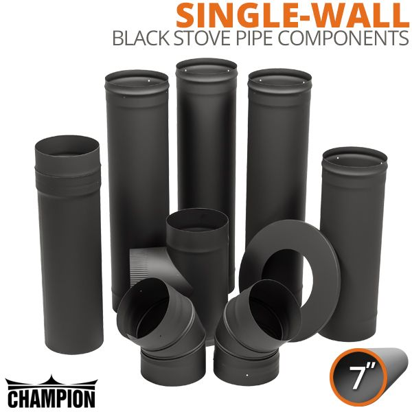 """7"""" Champion Single Wall Black Stove Pipe Components image number 0"""