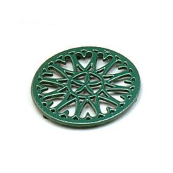 "7"" Green Sunburst Cast Iron Wood Stove Trivet"