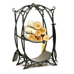 Cottage Indoor Firewood Rack with Tools