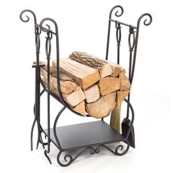 Country Indoor Firewood Rack with Tools