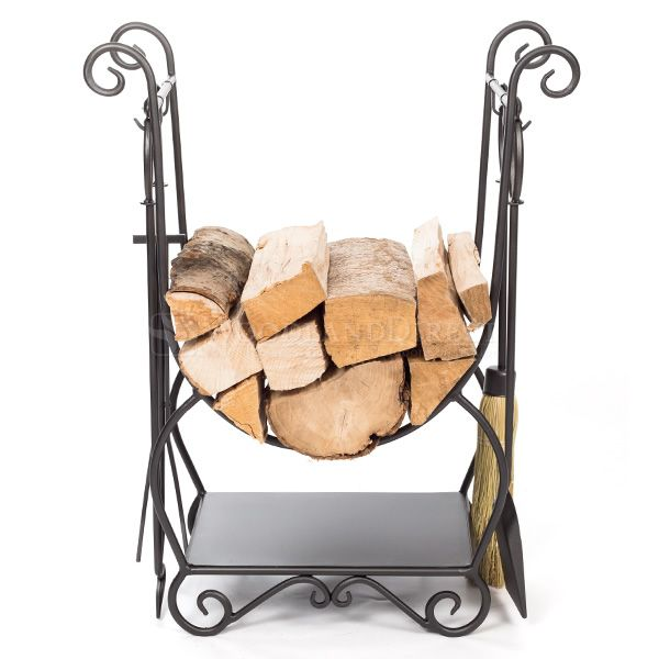 Minuteman Country Indoor Firewood Rack with Tools image number 1