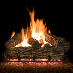 Country Oak Vented Gas Log Set