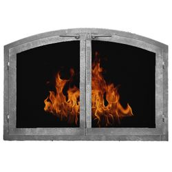 Contemporary Arched Masonry Fireplace Doors