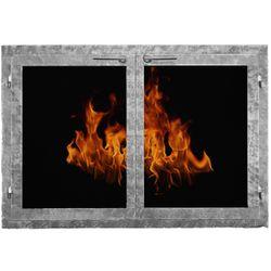 Contemporary Rectangular Masonry Fireplace Doors