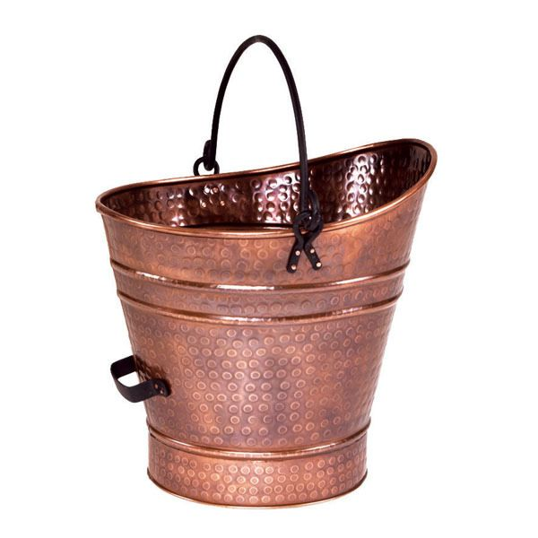 "Copper Coal Hod / Pellet Bucket with Antique Finish - 14""H image number 0"