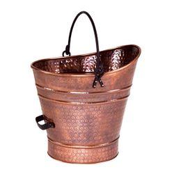 "Copper Coal Hod / Pellet Bucket with Antique Finish - 14""H"