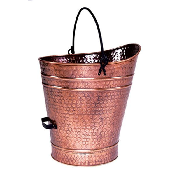 "Copper Coal Hod / Pellet Bucket with Antique Finish - 18""H image number 0"