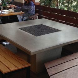 Cosmopolitan Square Outdoor Dining Gas Fire Pit Table