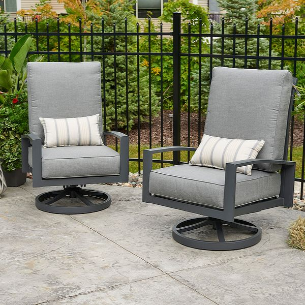 Cast Slate Lyndale Highback Swivel Rocking Chairs image number 0