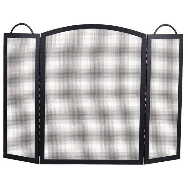 "Classic Three-Fold Black Wrought Iron Fireplace Screen - 36"" x 52"" image number 0"