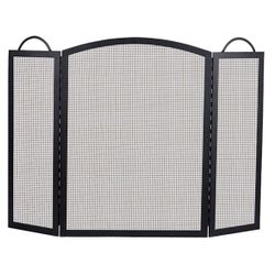 Classic 3-Panel Black Wrought Iron Fireplace Screen- 32.5x52
