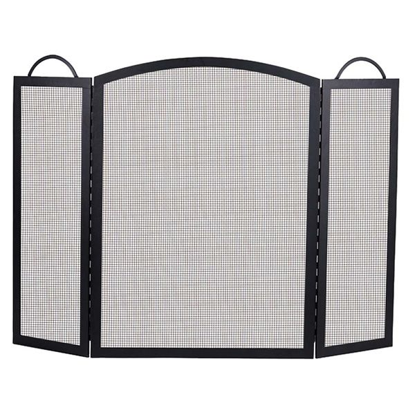 "Classic Three-Fold Black Wrought Iron Fireplace Screen - 32 1/2"" x 52"" image number 0"