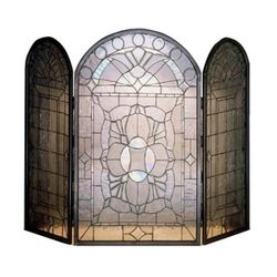 Clear Beveled Fireplace Screen