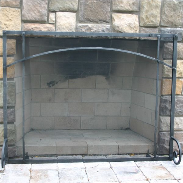 """Craftsman Forged Iron Fireplace Screen 38""""W x 32""""H image number 0"""