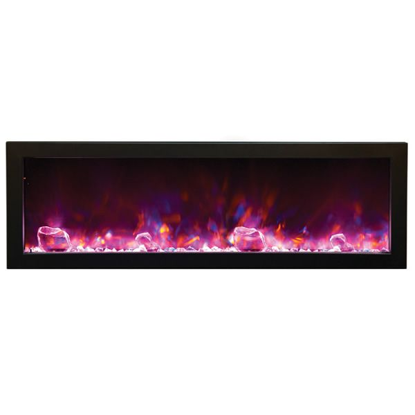 "Amantii Deep 50"" Electric Fireplace - Black Steel Surround image number 3"