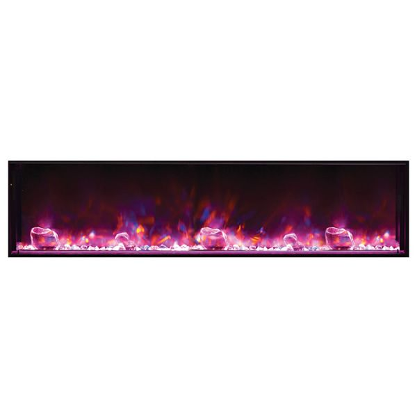 "Amantii Deep 72"" Electric Fireplace - Black Steel Surround image number 3"