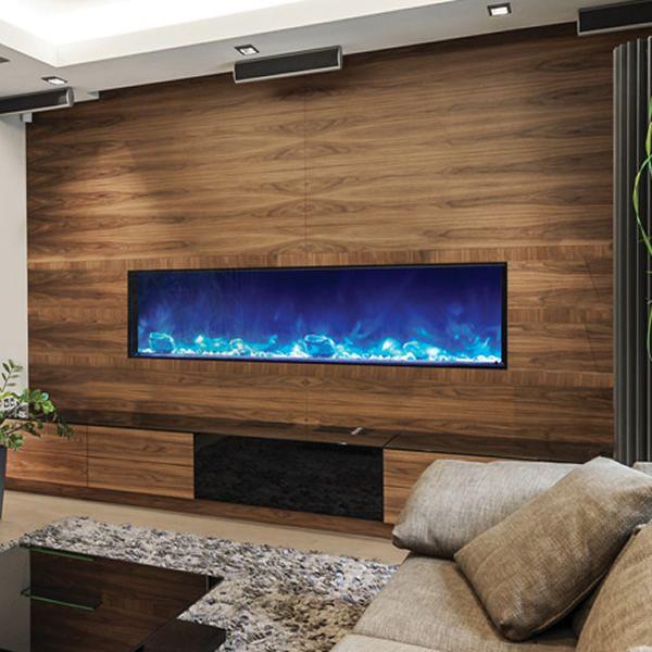 "Amantii Deep 72"" Electric Fireplace - Black Steel Surround image number 4"