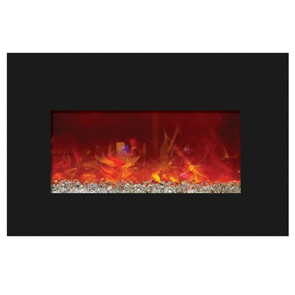 Amantii Medium Insert Electric Fireplace - Black Glass image number 1