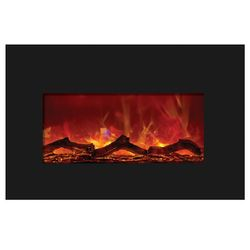 Amantii Medium Insert Electric Fireplace - Black Glass