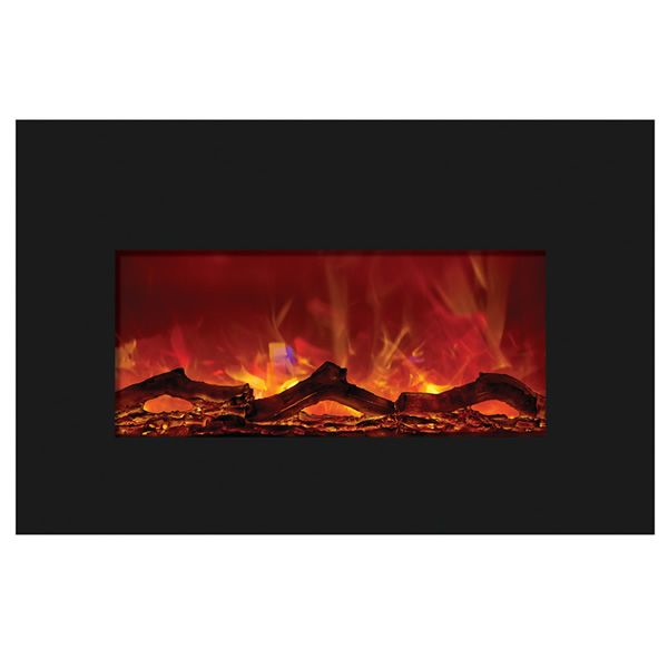 Amantii Medium Insert Electric Fireplace - Black Glass image number 0