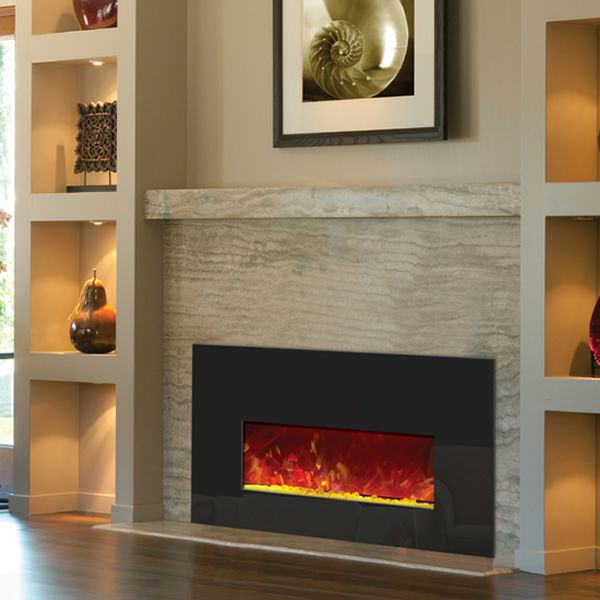 Amantii Small Insert Electric Fireplace - Black Glass image number 2