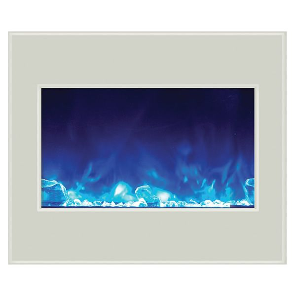 "Amantii 30"" Zero Clearance Electric Fireplace - White Glass image number 1"