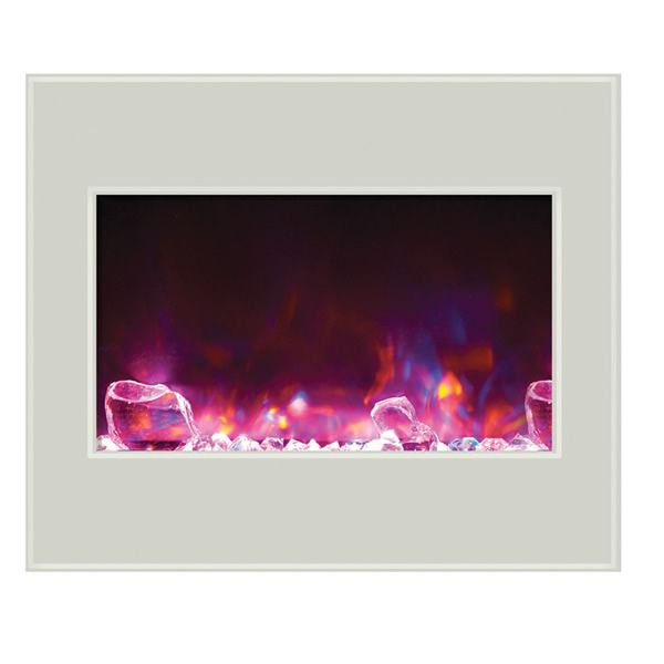 "Amantii 30"" Zero Clearance Electric Fireplace - White Glass image number 3"