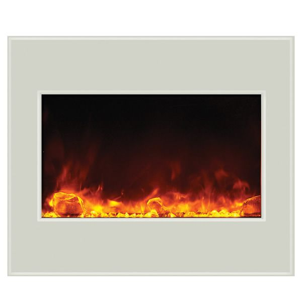 "Amantii 30"" Zero Clearance Electric Fireplace - White Glass image number 0"