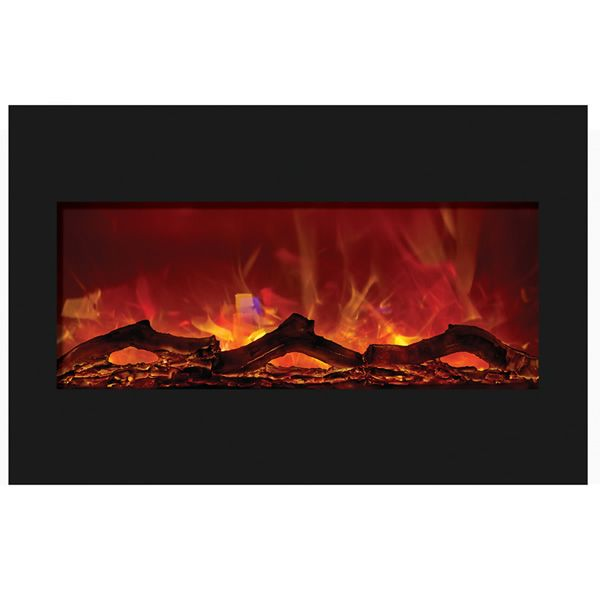 "Amantii 33"" Zero Clearance Electric Fireplace - Black Glass image number 1"