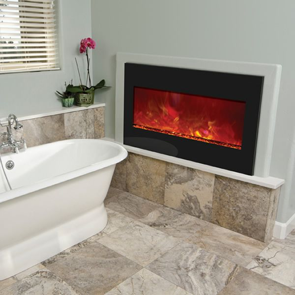 "Amantii 33"" Zero Clearance Electric Fireplace - Black Glass image number 2"