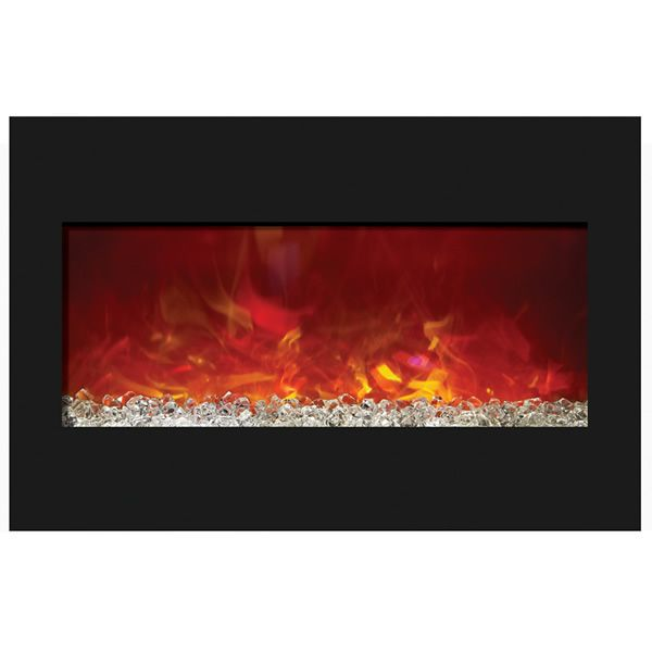 "Amantii 33"" Zero Clearance Electric Fireplace - Black Glass image number 0"