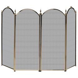 Antique Brass 4-Panel Fireplace Screen