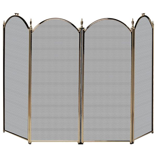 """Antique Brass 4-Panel Fireplace Screen - 52"""" image number 0"""